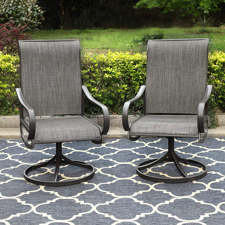 PHI VILLA Patio Swivel Dining Chairs Set of 2 Outdoor Kitchen Garden Metal Chair with Textilene Mesh Fabric, Patio Furniture Gentle Rocker Chair, Black Frame