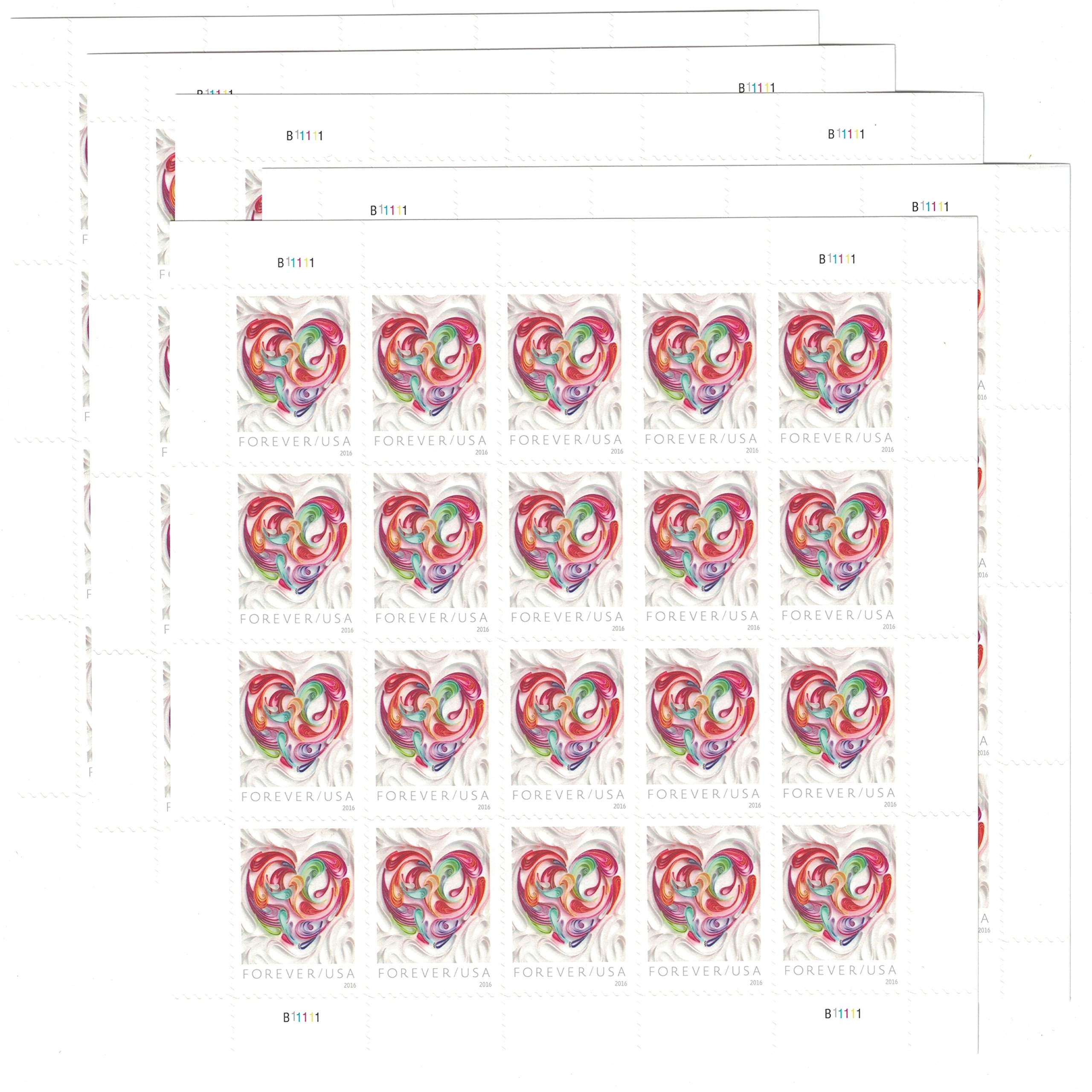 5 Sheets of 20 Quilled Paper Heart Forever USPS Stamps
