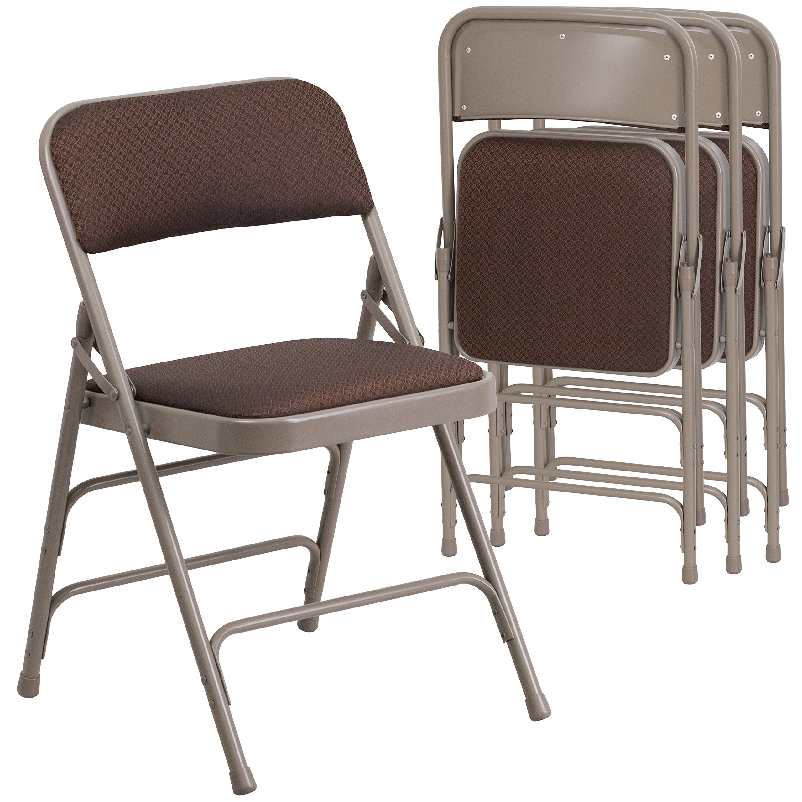 Flash Furniture 4 Pk. HERCULES Series Curved Triple Braced & Double Hinged Brown Patterned Fabric Metal Folding Chair