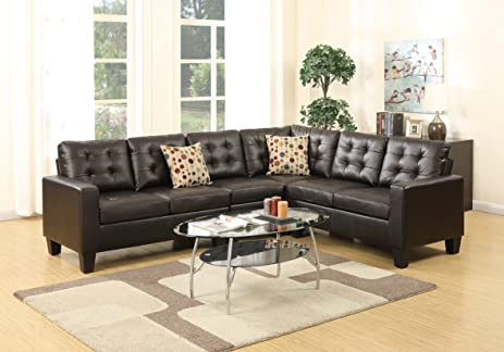 Poundex Sectional Sofa Modern Bonded Leather 4pcs Set Loveseat Corner Wedge Armless Chair Espresso Modular Sectionals : poundex sectional sofa - Sectionals, Sofas & Couches