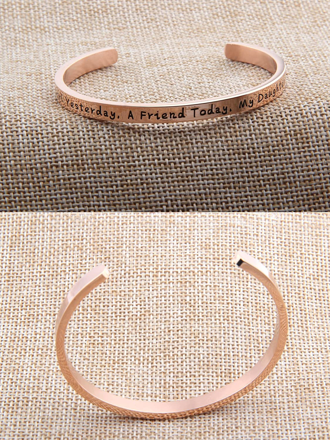Daughter Bracelet for Daughter,Brithday Daughter Jewelry FEELMEM A Little Girl Yesterday My Daughter Forever Cuff Bracelet a Friend Today