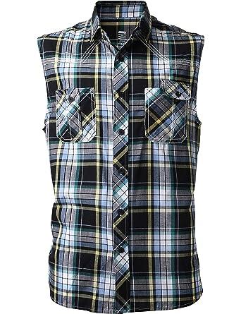 5e95711b54b2 Mens Button Down Sleeveless Plaid Flannel Shirt Checkered Top at ...