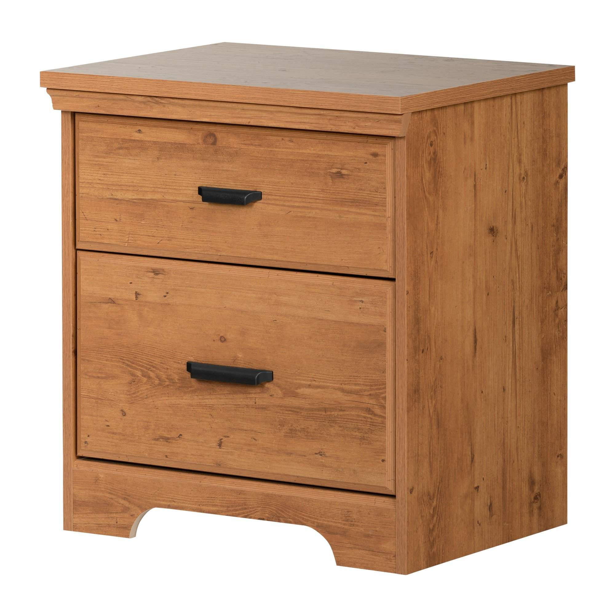 South Shore Versa 2-Drawer Nightstand, Country Pine with Antique Handles