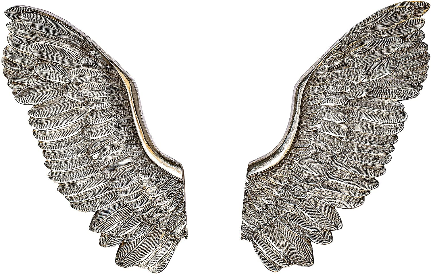 NRMEI Large Size Wall Hanging Wings Grand Angel Wings 2 Piece Set Vintage Style Bas Relief Sculptures Hand Crafted Wall Decor Artisinal Design(32''Tall Champagne Wings)