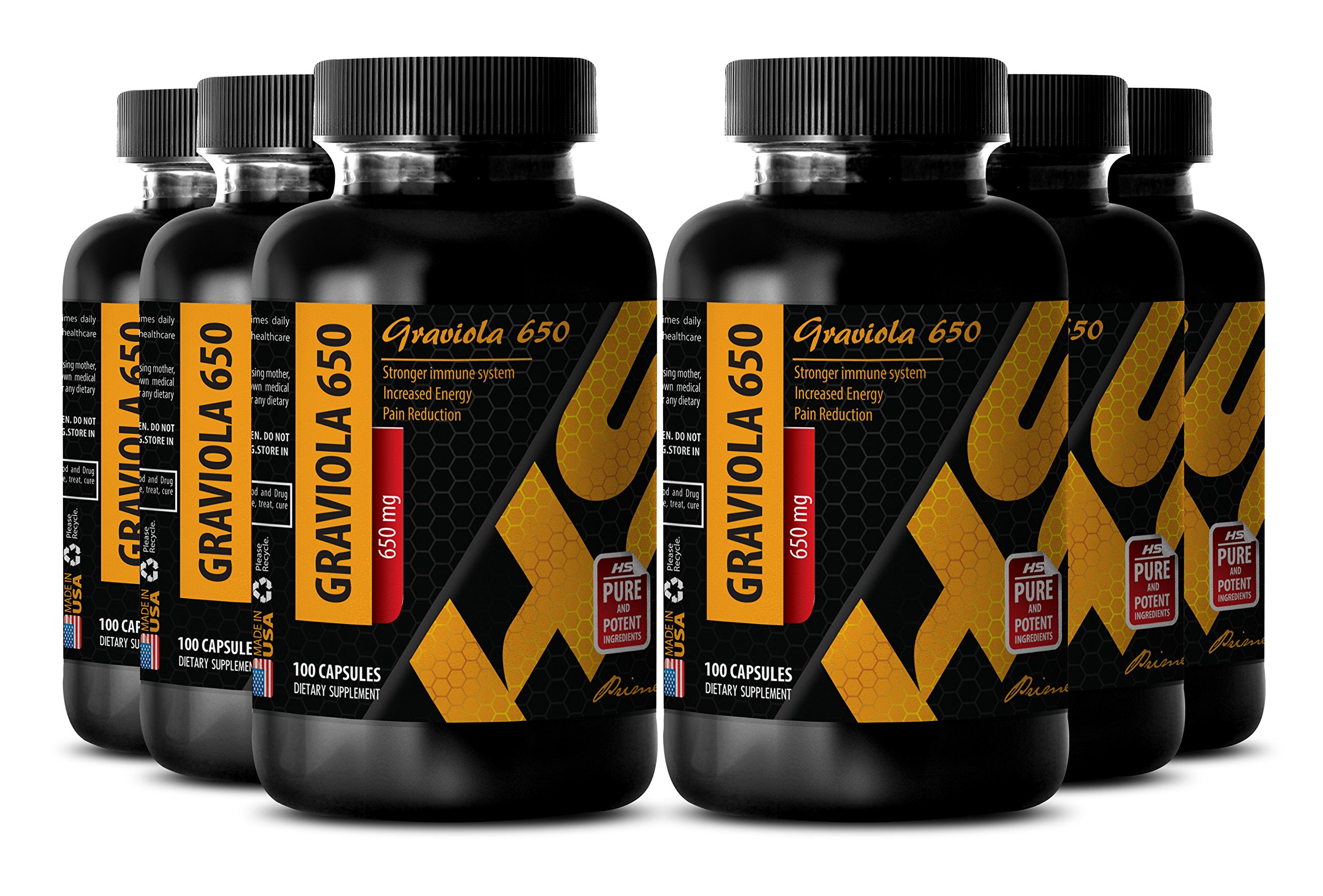 Pancreas support - GRAVIOLA EXTRACT - Calcium supplement for women - 6 Bottles 600 Capsules
