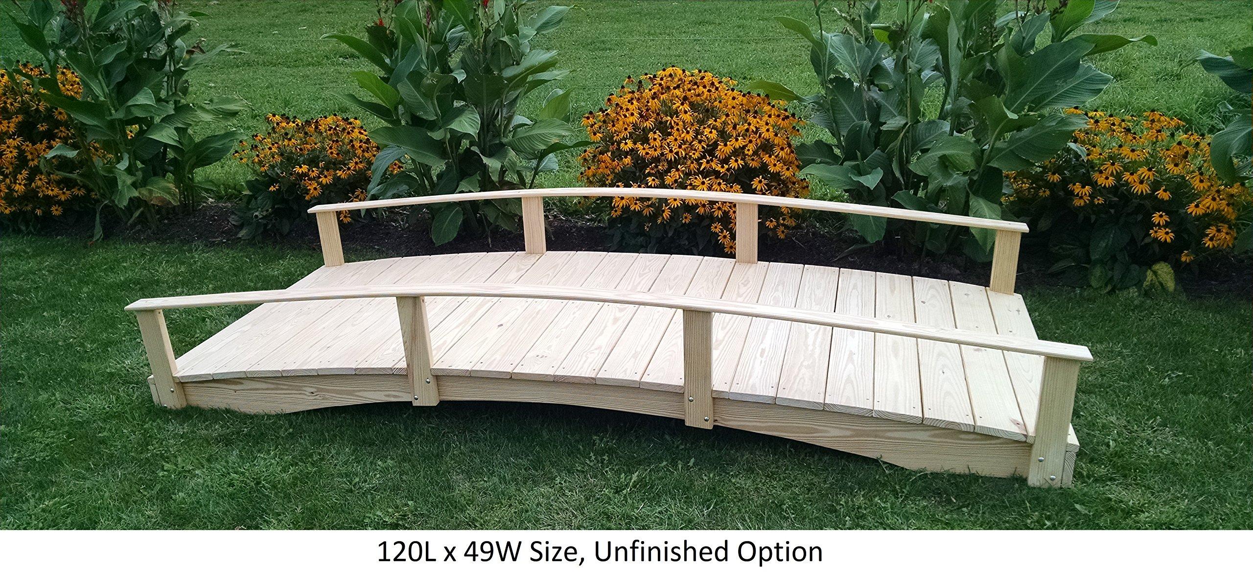Amish-Made Weight-Bearing Pine 3' x 10' Oriental Bridge, Unfinished