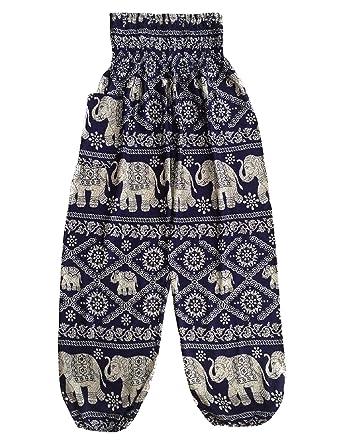Amazon.com: Baggy Impreso elefante Print Hippie yoga ...