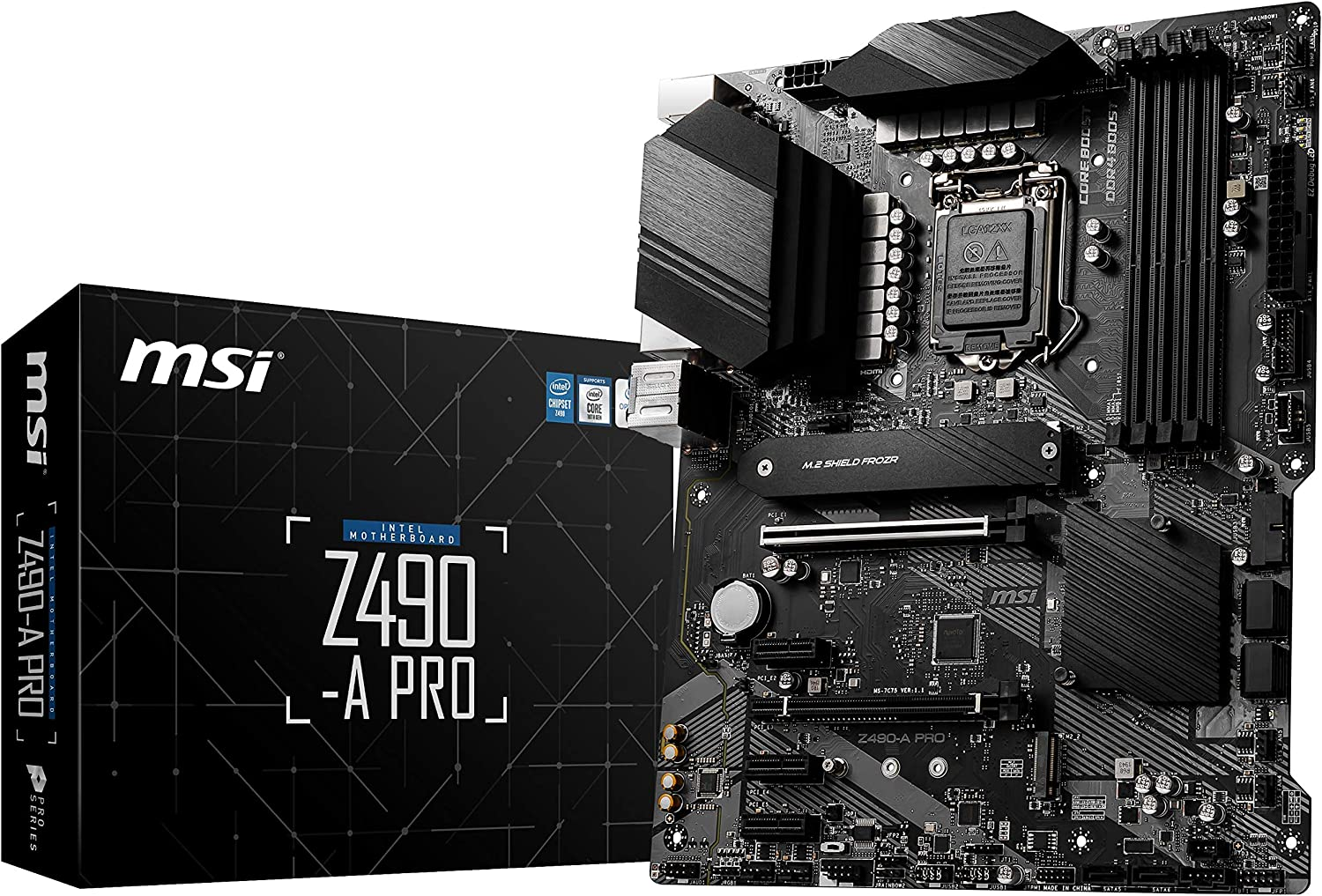 MSI Z490-A PRO ProSeries ATX Motherboard (10th Gen Intel Core, LGA 1200 Socket, DDR4, Dual M.2 Slots, USB 3.2 Gen 2, 2.5G LAN, DP/HDMI)