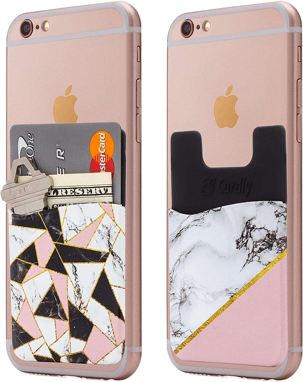(Two) Marble Cell Phone Stick on Wallet Card Holder Phone Pocket for iPhone, Android and All Smartphones (Shattered)
