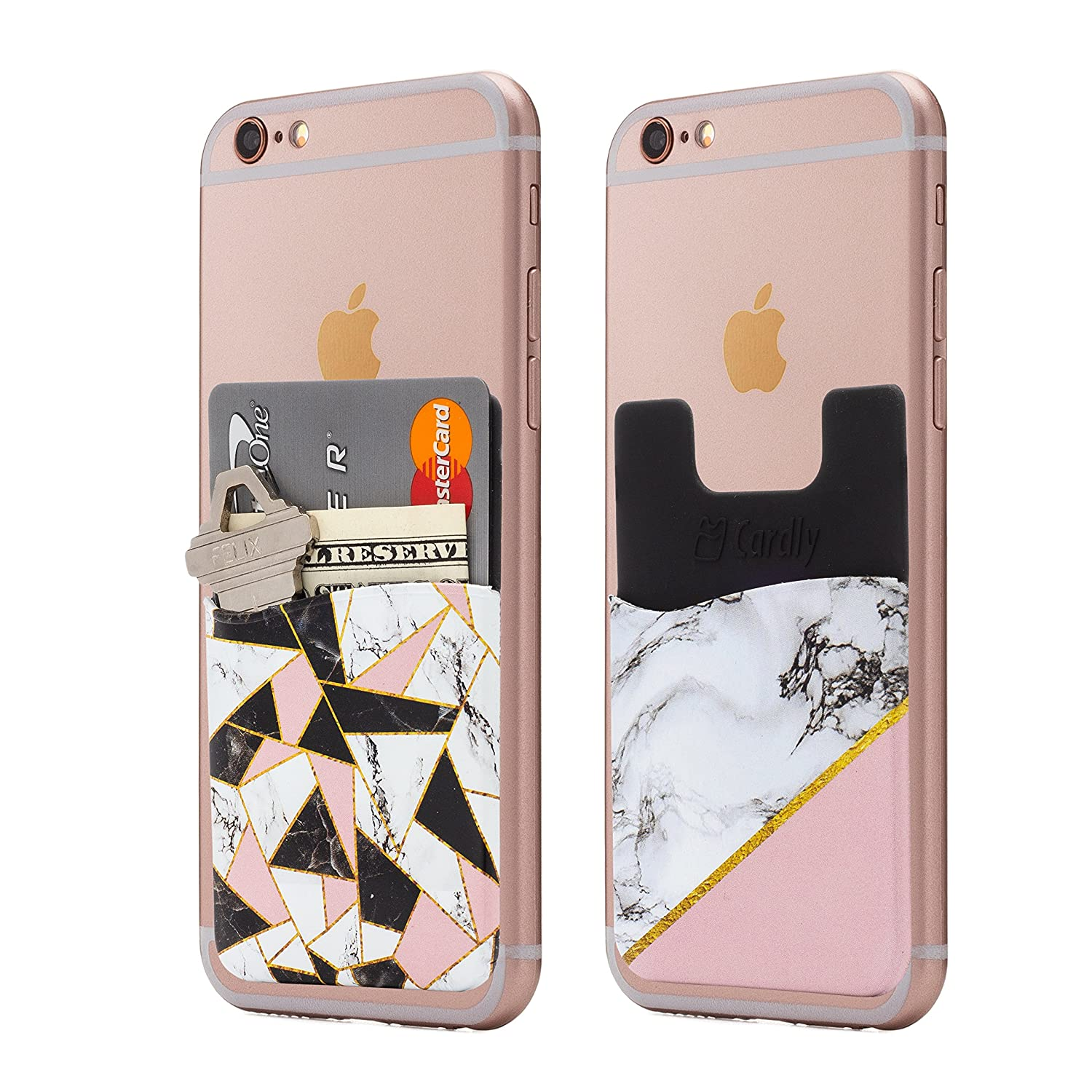 (Two) Marble cell phone stick on wallet card holder phone pocket for iPhone, Android and all smartphones (Shattered) Cardly