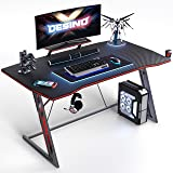 DESINO Gaming Desk 40 inch PC Computer Desk, Home Office Desk Gaming Table Z Shaped Gamer Workstation with Cup Holder and Hea