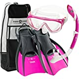 Aqualung Snorkel Set with Sport Diva 1 Lx Mask, Island Dry Snorkel and Trek Fin, Pink, Medium (Ladies 8-11)