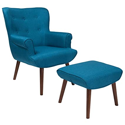Flash Furniture Bayton Upholstered Wingback Chair With Ottoman In Blue  Fabric