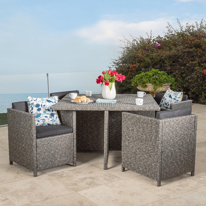 Christopher Knight Home Calella 5-Piece Outdoor Dark Grey Wicker Dining Set