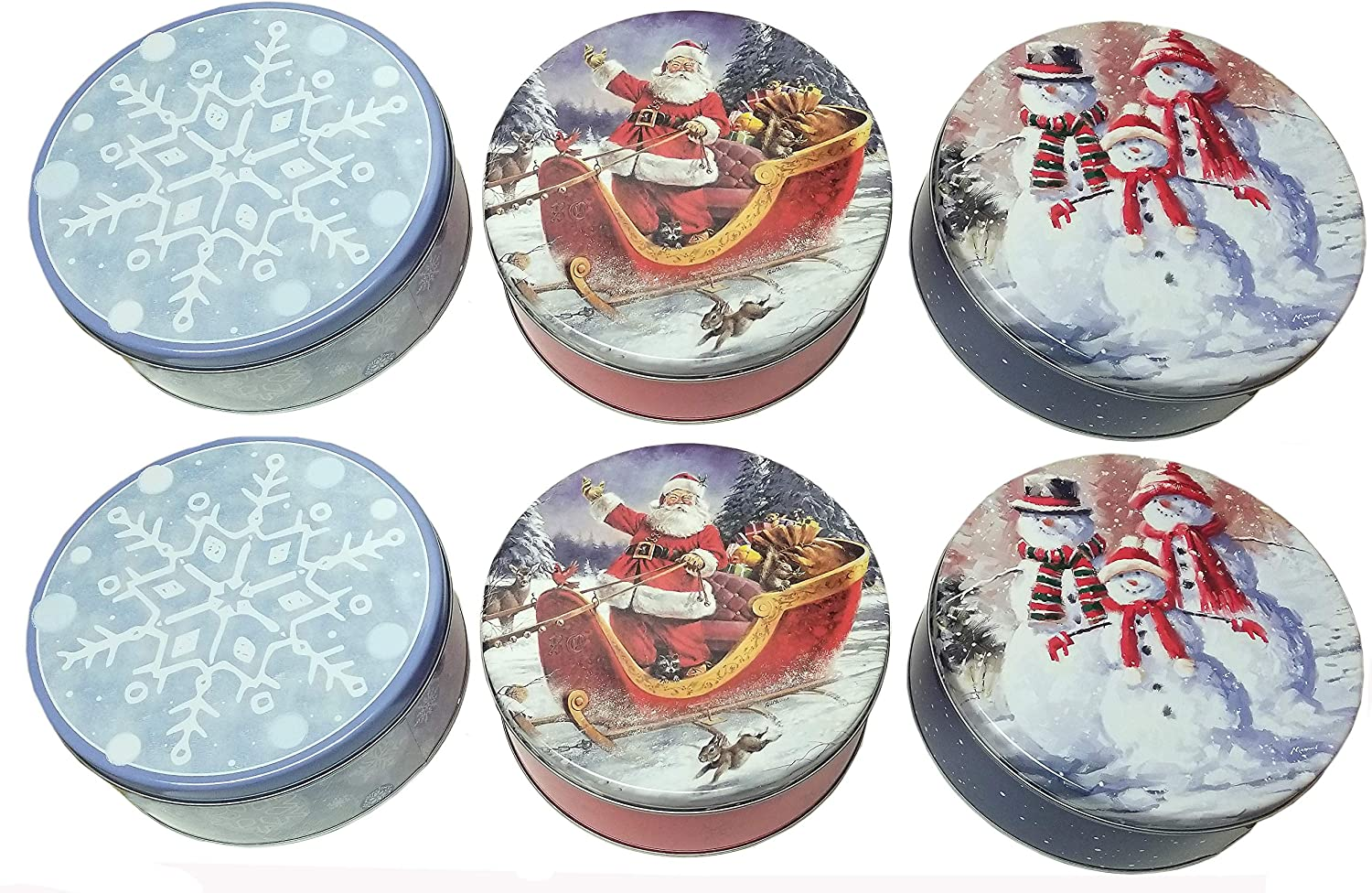The Tin Box Company Holiday Round 2 Lb. Cookie Tins (6 Pack, 3 Designs), Multicolor