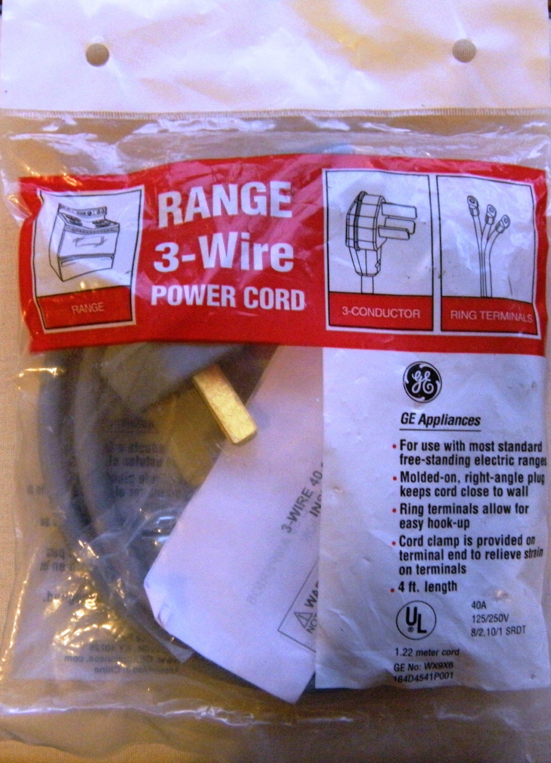 GE WX9X6 4' - 3 Prong Range Power Cord - 40 Amp