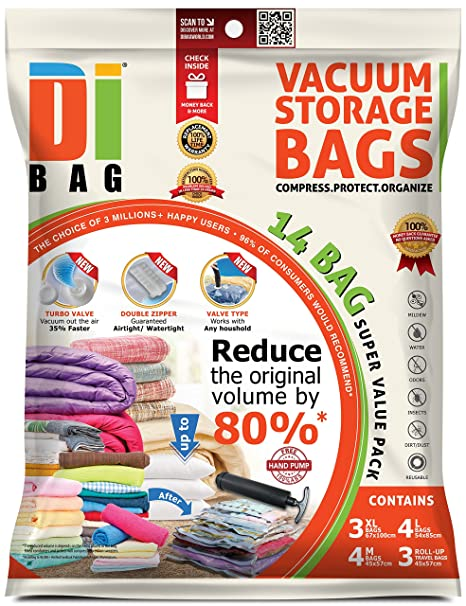 DIBAG - Bolsas de almacenaje al vacío de ropa para ahorrar espacio. 14 bolsas ahorradoras de espacio para viaje. 3 XL / 4 L / 4 M + 3 Enrollar.