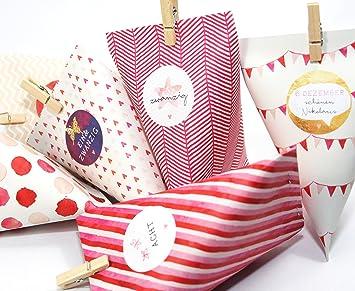 DIY Calendario de Adviento Manualidades Cajas Cajas Rosa/Rosa Guirnalda para mujeres para rellenar Manualidades: Amazon.es: Oficina y papelería