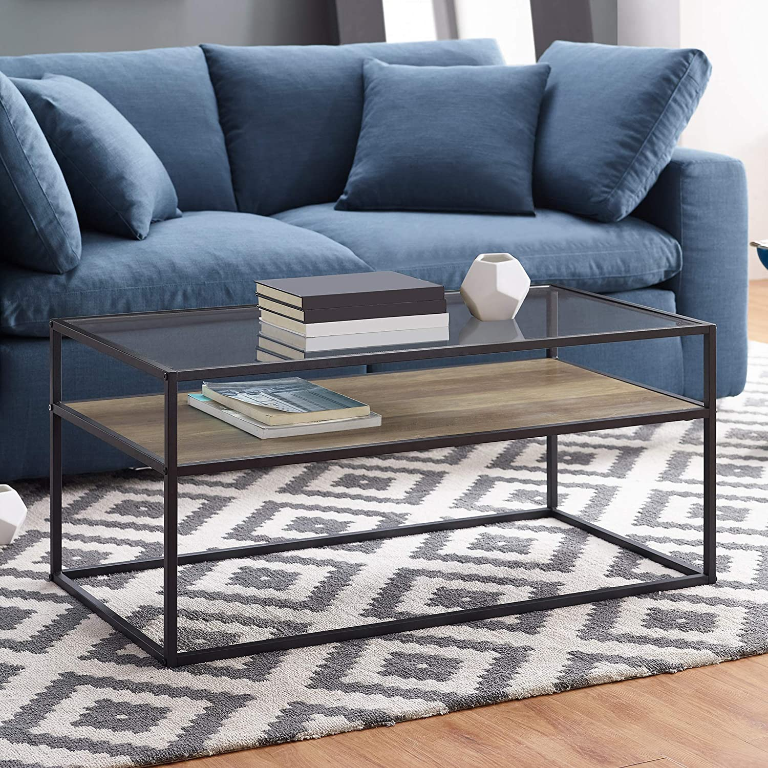 WE Furniture AZ40SWICTROST Modern Reversible Shelf Rectangle Coffee Accent Table Living Room, 40 Inch, Reclaimed Barnwood Brown/Grey