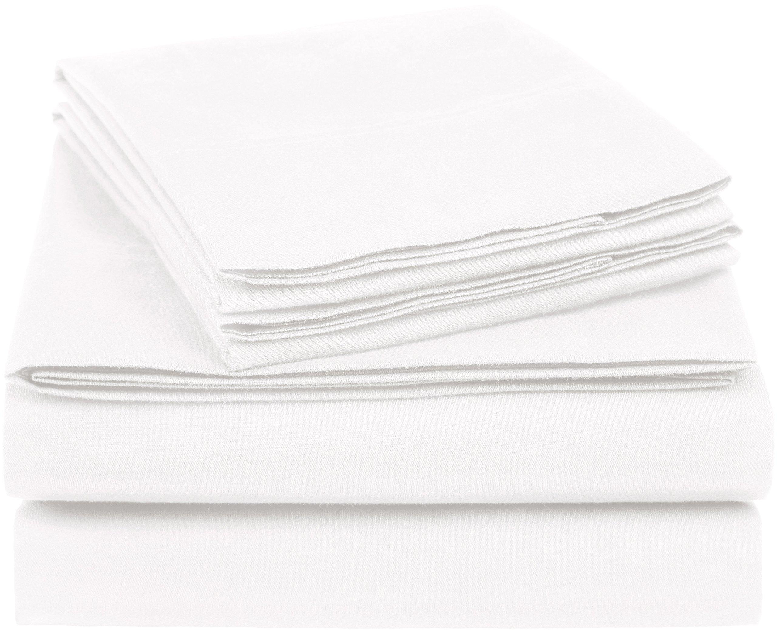 AmazonBasics Essential Cotton Blend Sheet Set -King, White by AmazonBasics (Image #1)