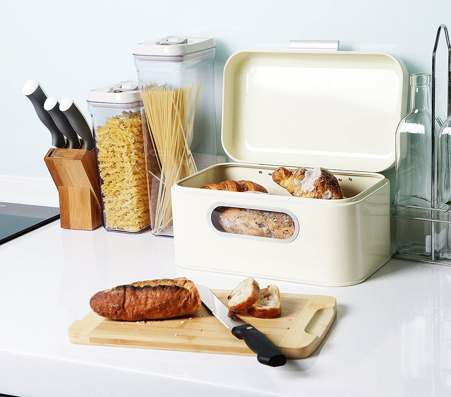 Pastries Bread Bin Storage Container with Lid for Loaves Ivory and More 12 x 7.25 x 6.25 Inches Bread Box for Kitchen Countertop