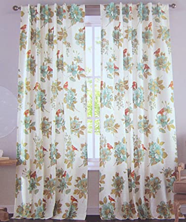Cottage Country Floral Print Window Curtain Panels Pair 100 Cotton Drapes Of Curtains 2
