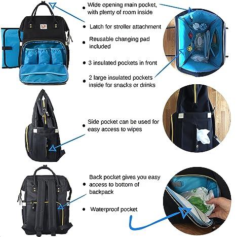 Amazon.com: Grande de pañales de bebé bolso mochila: Negro ...