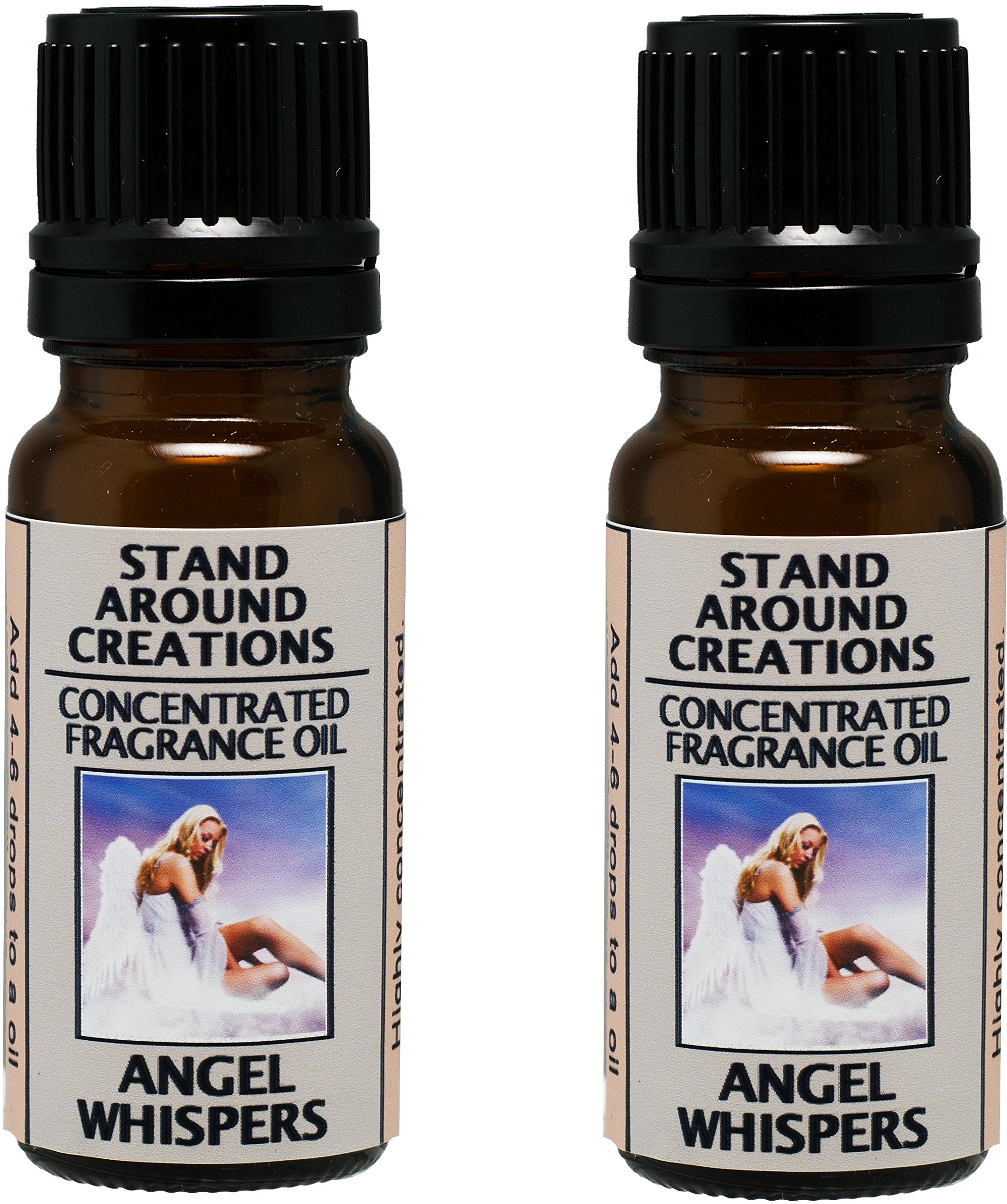 Set of 2 - Concentrated Fragrance Oil - Angel Whispers - Green leafy ferns and sweet florals w/jasmine and white floral lily. Made w/Essential oils (.33 fl.oz.)