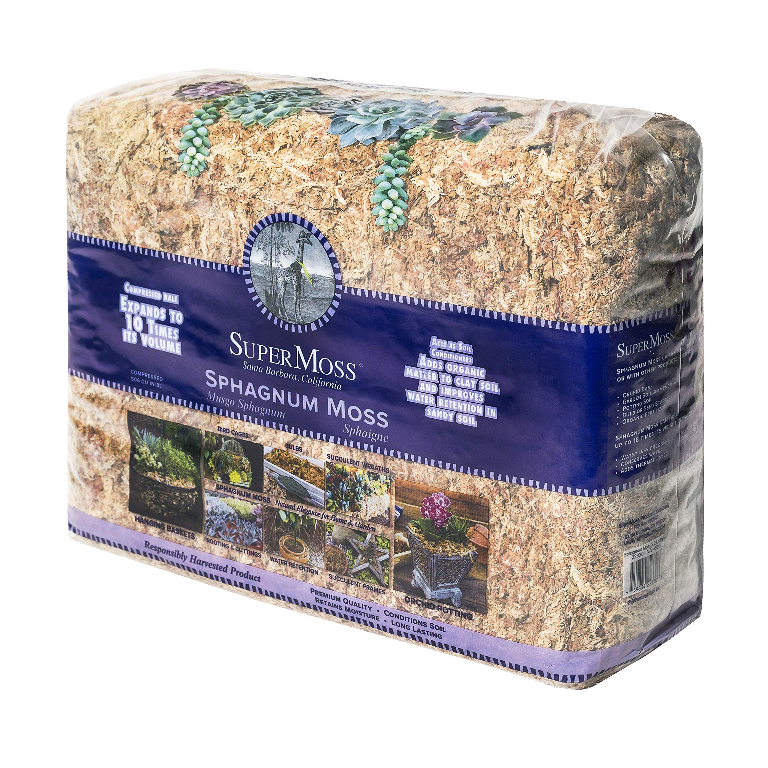 SuperMoss (22330) Orchid Sphagnum Moss Dried, Natural, 2.4lbs Small Bale