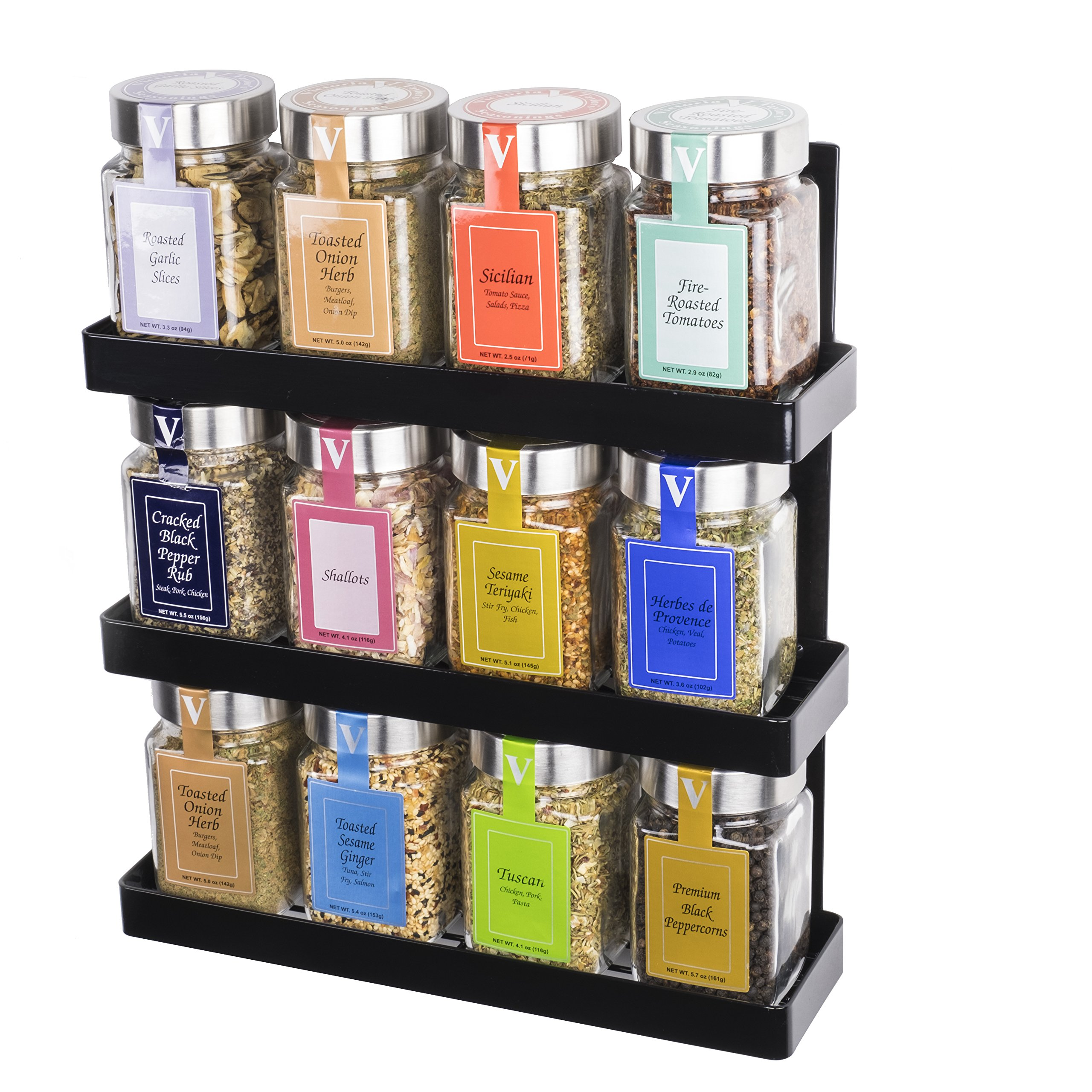 Space Saving Wall Mountable Sturdy Construction 3-Tier Spice Rack Pantry Organizer in Black