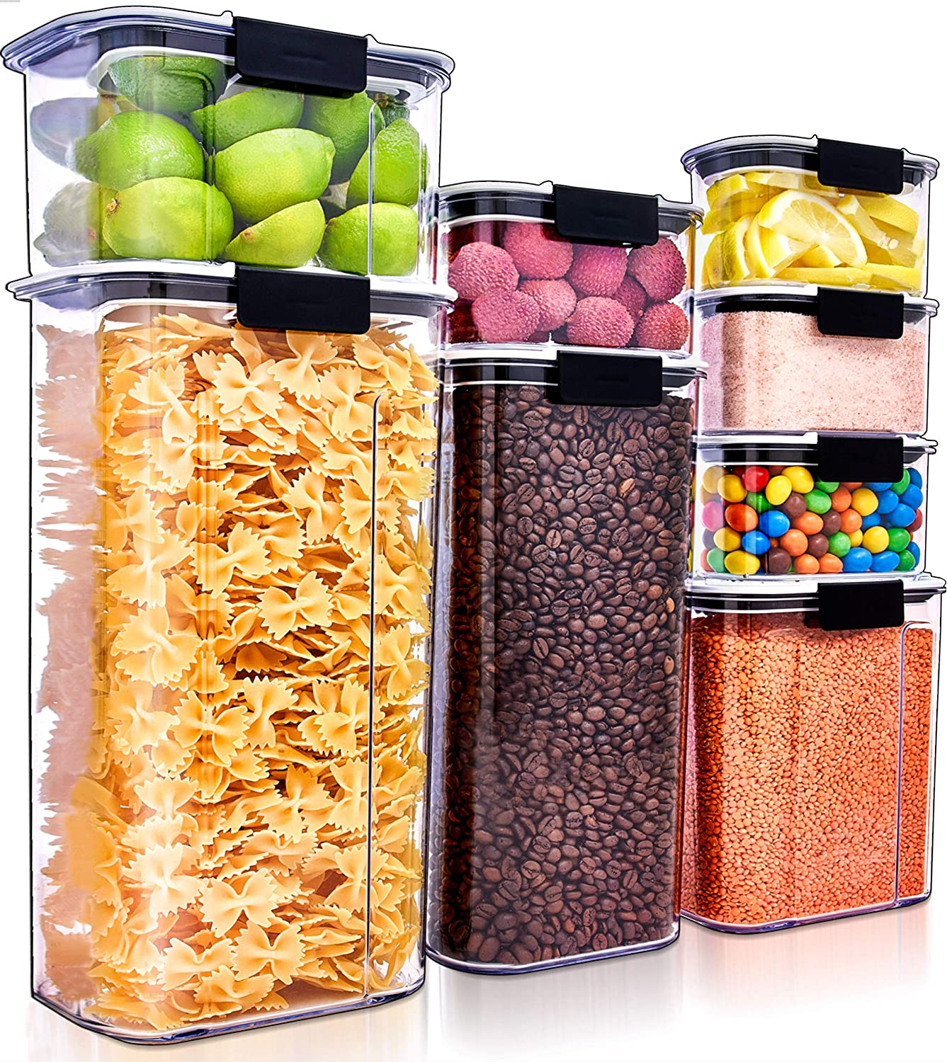 Large Airtight Food Storage Containers ( Set of 8 ) Air Tight Containers for Food Flour Container Flour Storage Containers for Pantry Storage Containers Airtight Containers for Food Pantry Containers