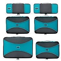 Pro Packing Cubes | Ensemble économique de sacs de rangement de voyage 6 pièces | Sacs économisant 30% de place | Organiseurs de bagage ultralégers | Idéal les sacs de voyage & valises de cabine