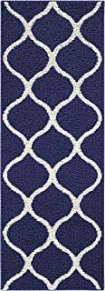 "product image for Maples Rugs Rebecca Contemporary Runner Rug Non Slip Hallway Entry Carpet [Made in USA], 1'9"" x 5', Navy Blue/White"