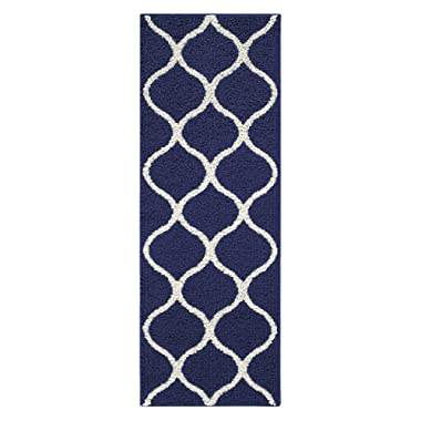 Maples Rugs Runner Rug - Rebecca 1'9 x 5' Non Skid Hallway Carpet Entry Rugs Runners [Made in USA] for Kitchen and Entryway, Navy Blue/White