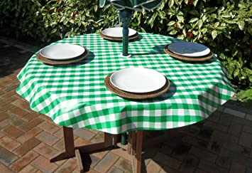 55u0026quot; ROUND PVC/VINYL TABLECLOTH   GREEN GINGHAM WITH PARASOL HOLE