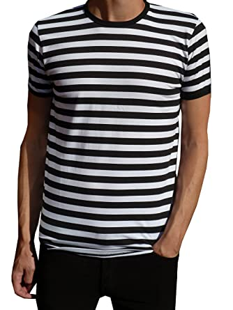 Amazon.com: Mens Classic Nautical Mod Black and White Striped T ...