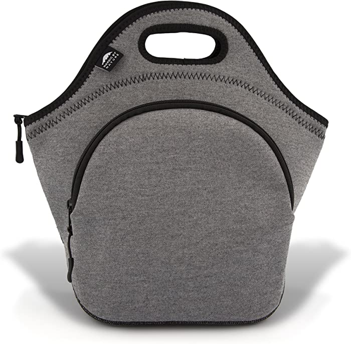 Nordic By Nature Large Neoprene Lunch Bag for Women & Lunch Tote for Kids Insulated Lunch Bag Reusable Washable Thick Neoprene & Soft Cotton Feel, Premium Stitching, Outside Pocket, (L) Grey/Black