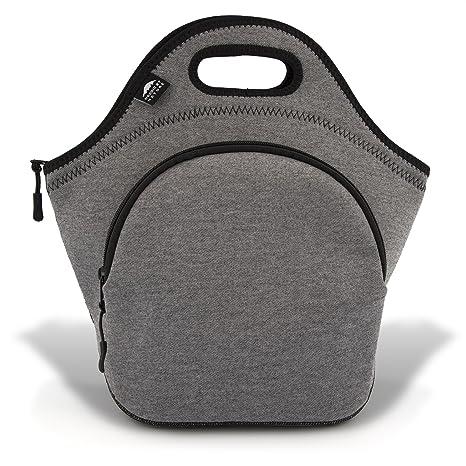 "6d86ae13a331 Insulated Large Neoprene Lunch Bag For Women, Men & Kids | Pocket | 5mm  Insulation | 13.5"" | Reusable | Washable | Soft Designer Cotton 5mm  Neoprene | ..."
