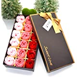 MAYMII 18Pcs Flora Scented Bath Soap Rose Flower Flowers Made By Nature Plant Essential Oil Set,in Gift Box, (Pink,Blue, Red, Purple for Choice) (Pink)