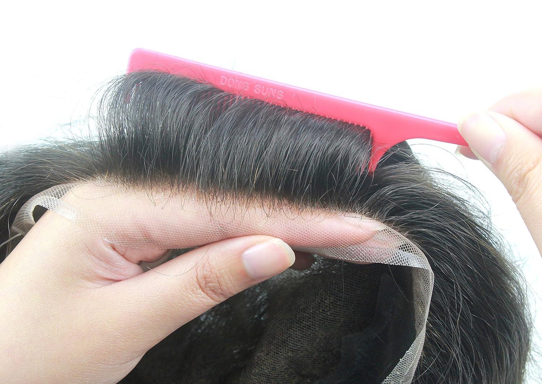 Lordhair French Lace Sistema de Reemplazo de Cabello Humano Con PU en Los Lados Retrocede Color Negro # 1B Toupee de Los Hombres Toucee Hairpieces Para Los ...