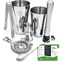 Boston Shaker by Uplifebrothers: 7 Piece Cocktail Shaker Set with Hawthorne Strainer, Jigger, Bar Spoon, Muddler and Ice…