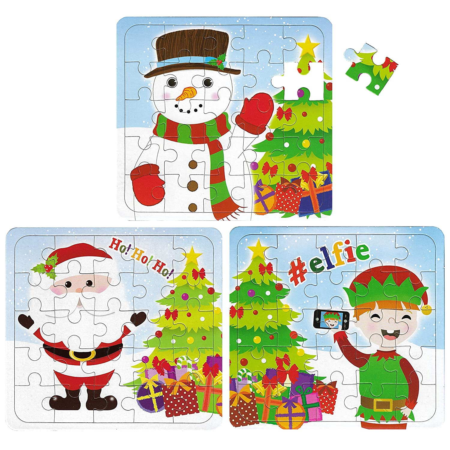 12 Christmas Puzzles - 25 Piece Mini Jigsaw Puzzle - Boys Girl Unisex Party Bag Fillers HENBRANDT Ltd