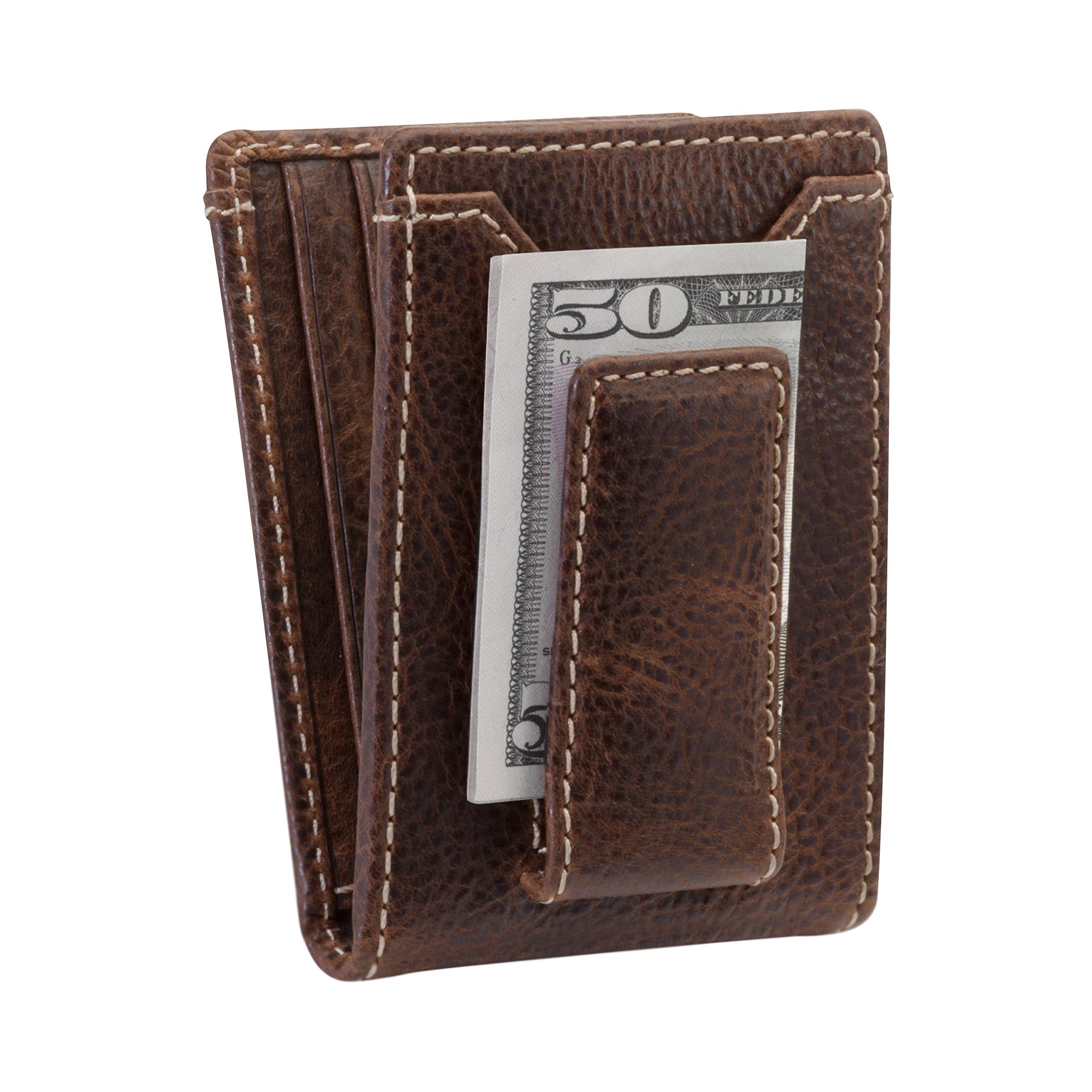 HOJ Co. IVAR ID BIFOLD Money Clip Wallet-Full Grain Leather-Magnetic Front Pocket Wallet (brown)