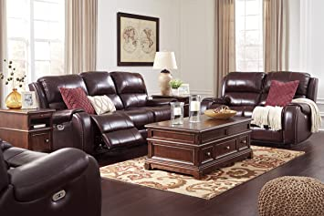 Gilmanton Contemporary Burgundy Color Leather Power Reclining Sofa And  Loveseat, Recliner With Adjust Headrest