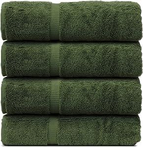 BC BARE COTTON Luxury Hotel & Spa Towel Turkish Cotton Bath Towels - Moss - Dobby Border - Set of 4