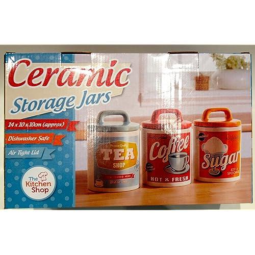 Retro Set 0f 3 Classic 50u0027s/60u0027s Style Tea, Coffee U0026 Sugar Canisters /