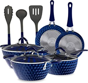 11-Piece Nonstick Kitchen Cookware Set - Excilon Blue Diamond Ceramic Home Kitchen Ware Pots and Pan Set with Saucepan, Frying Pans, Cooking Pots, Dutch Oven Pot, Lids, Utensil - NutriChef NCCW11DS