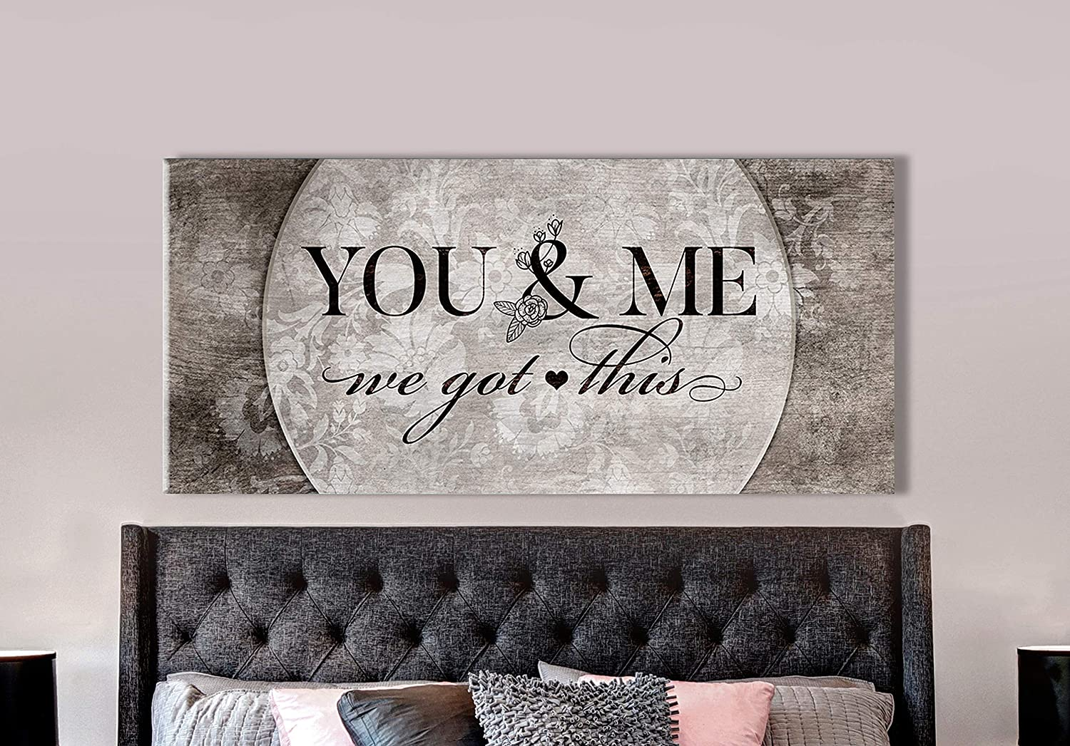 Above Bed Lovers Art   You and me we got This V5   Wood Framed Canvas   Rustic Bedroom Decor Bedroom Pictures for Wall Ready to Hang Wall Decor for Bedroom Couples (Brown, 42x19)
