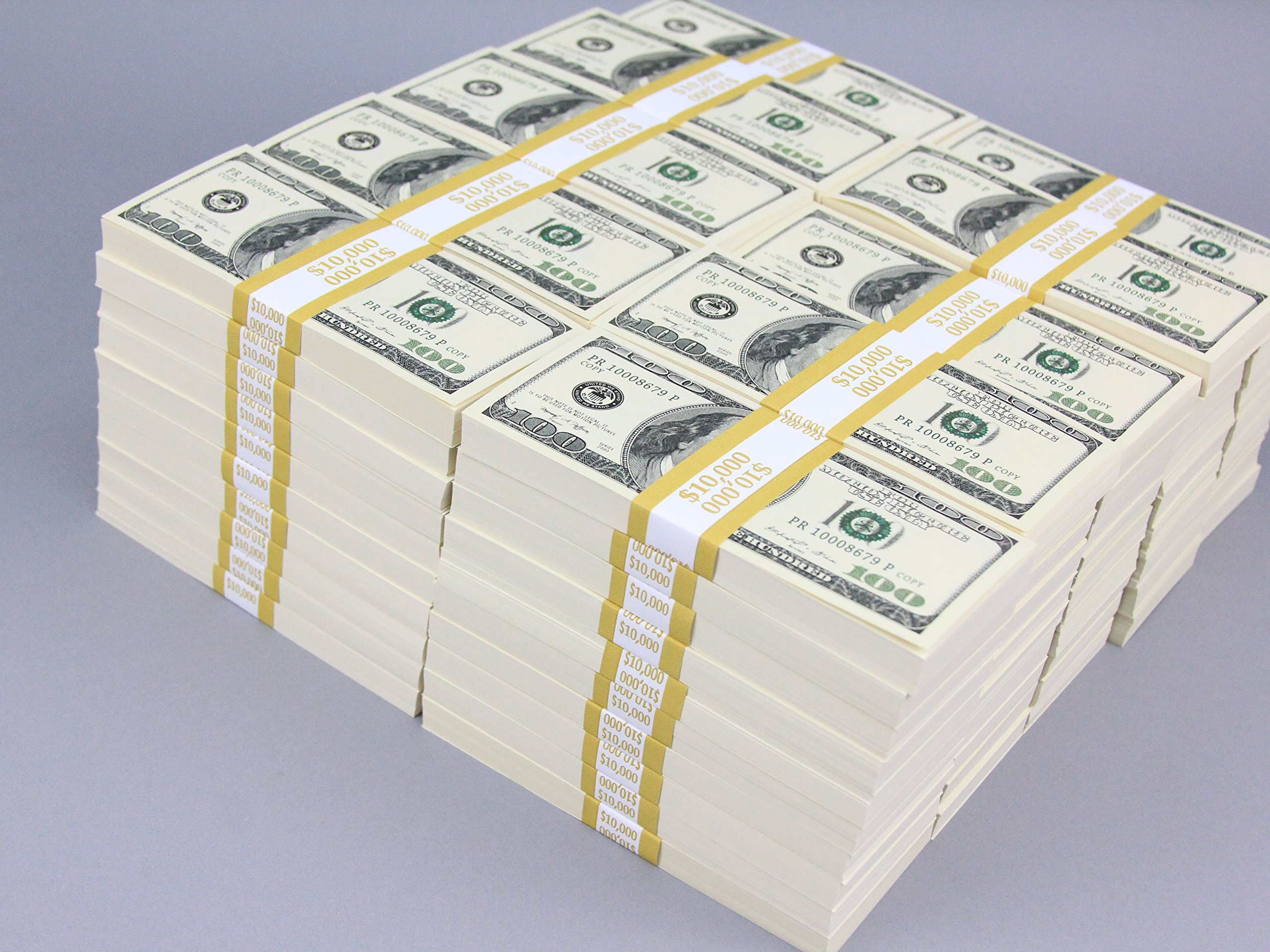 PROP MONEY Real Looking Copy $100s Pack - BLANK FILLERS Total ONE MILLION ($1,000,000) for Movie, TV, Videos, Advertising & Novelty