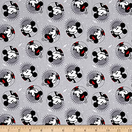 100/% Cotton Fabric Springs Creative Mickey Mouse Minnie Disney Block Lines
